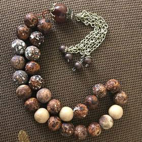 Handmade Brown Jasper on Gold Tasbih, Tasbeeh, Misbaha, Sebha, Prayer Beads